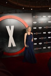 "LOS ANGELES, CA - JANUARY 12: (EDITORS NOTE: This image was created using digital filters) Gillian Anderson attends ""The X-Files"" Fox premiere at California Science Center on January 12, 2016 in Los Angeles, California. (Photo by Araya Diaz/Getty Images)"